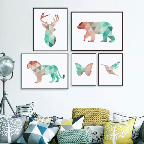 Geometric Animals Canvas Art Print Painting, Giclee Print Wall Pictures - *FREE SHIPPING*