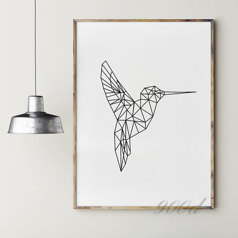 Geometric Flying Woodpecker Canvas Art Print Painting, Frame not included - - FREE SHIPPING*