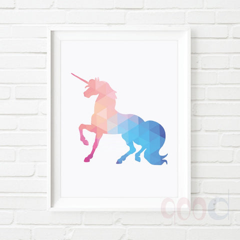 Geometric Unicorn Canvas Art Print, Wall Pictures for Home Decoration, Wall Art Decor  - *FREE SHIPPING*