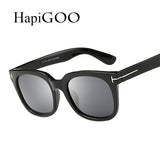 HAPIGOO Fashion Classic Tom Polarized Men Square Sunglasses Women Vintage Brand Designer Coating Mirrored Driving Sun Glasses