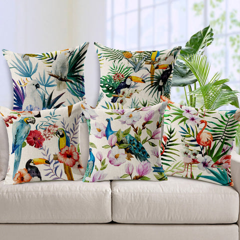 Hand Printed Parrot Peacock  Pillow Covering Flamingos Linen Cotton Cushion Decorative Throw Pillows sofa cushion Free Shipping