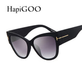 HapiGOO Fashion Vintage Oversize Cat Eye Sunglasses Women Brand Designer Sun Glasses Female Retro Big Mirror Ladies Eyewear