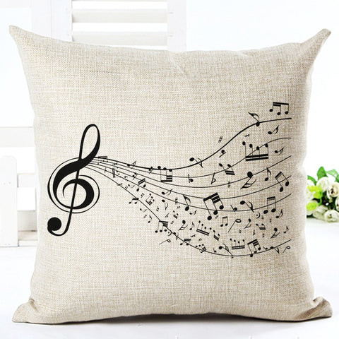 High Quality Fashion Style Cotton Linen Cushion Music Score Print Home Decor Cushion Bed Car Throw Pillows Decorative Cojines