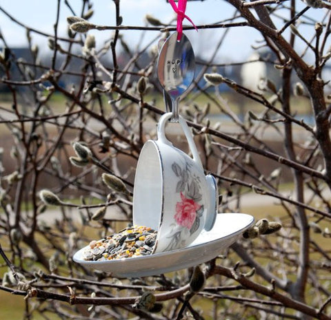 TEA CUP BIRD FEEDER WITH HAND STAMPED BENT SPOON- HOPE
