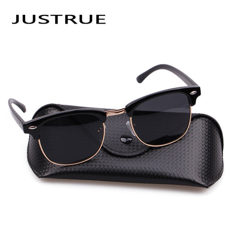 JUSTRUE Vintage Square Polarized Sunglasses Men Women Classic Sun glasses Brand Designer Male Lady Driving Shades With case