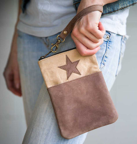 Leather Star and Pocket Tall Wristlet - *FREE SHIPPING*