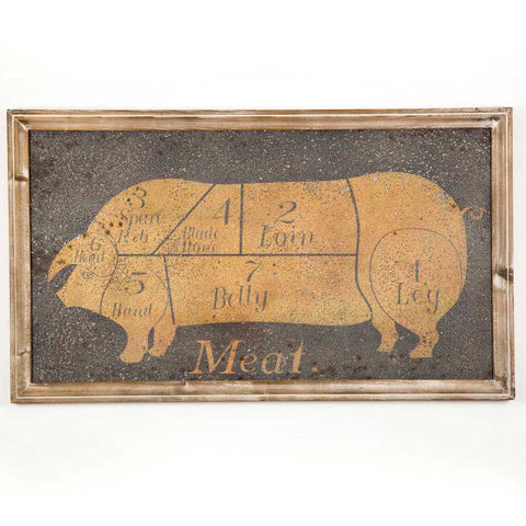 """Meat"" Vintage Sign with Wood Frame - *FREE SHIPPING*"