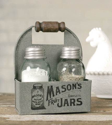 Mason Jar Box Salt And Pepper Caddy with Wood Handle - SET OF 2 - *FREE SHIPPING*