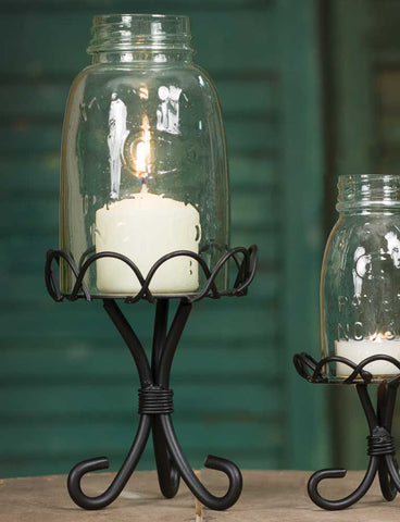 Mason Jar Chimney w/ Stand - Midget Pint Size - Black - *FREE SHIPPING*