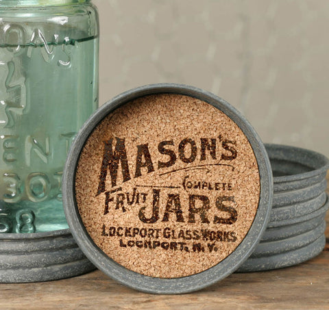 Mason Jar Lid Coaster - Mason Jars Logo - Set Of 4 - *FREE SHIPPING*