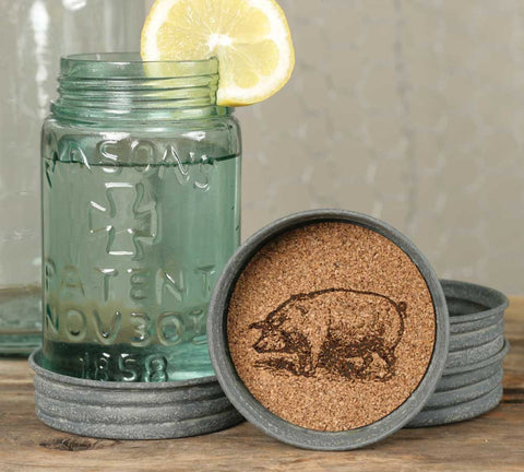 Mason Jar Lid Coaster  - Pig - Set Of 4 - *FREE SHIPPING*