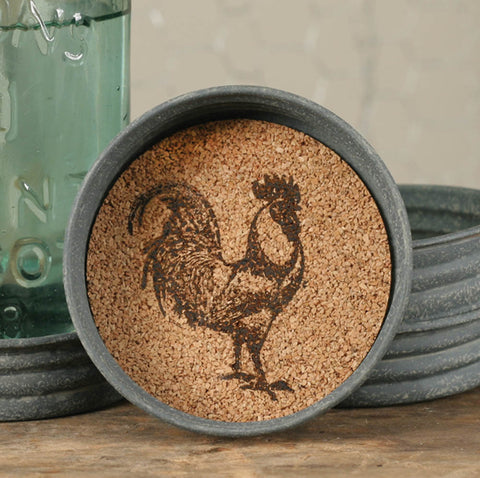Mason Jar Lid Coaster - Rooster - Set Of 4 - *FREE SHIPPING*