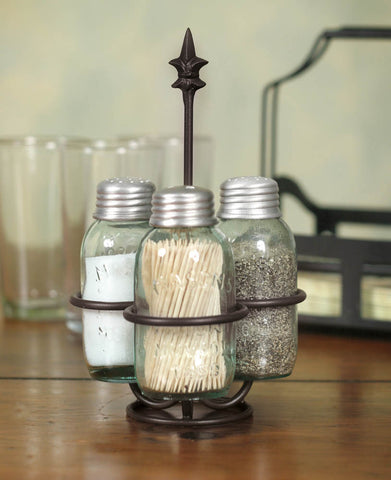 Mason Jar Salt Pepper and Toothpick Caddy - Fleur de lis - SET OF 2 - *FREE SHIPPING*