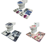 New qualified fashional 3Pcs/set Bathroom Non-Slip Blue Ocean Style Pedestal Rug + Lid Toilet Cover + Bath Mat dig699