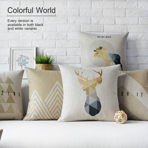Nordic Styles Geometric Bear and Deer Home Decor Pillow Linen Cotton Cushion Decorative Throw Pillows Car cushion - *Free Shipping*