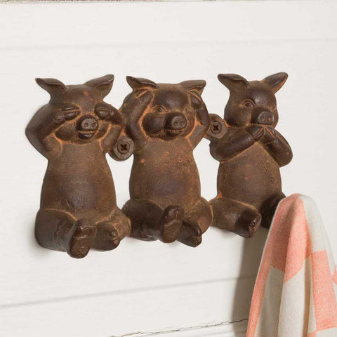 """No Evil"" Pigs Hook - SET OF 2 - *FREE SHIPPING*"