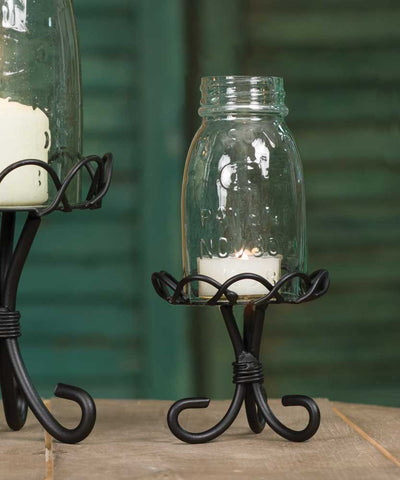 ¼ Pint Mason Jar Chimney with Stand - Black - *FREE SHIPPING*