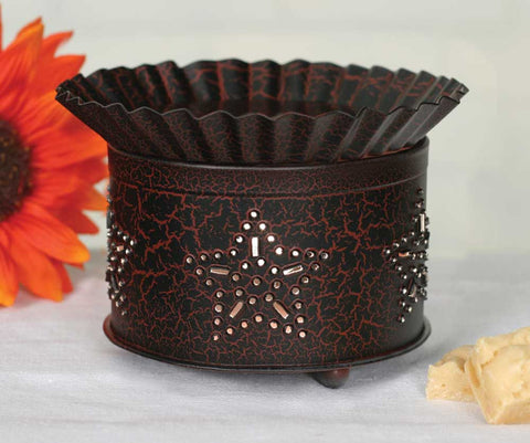 Punched Star Short Round Wax Warmer - Crackle Black/Red - *FREE SHIPPING*