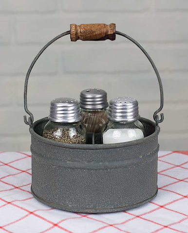 Round Bucket Salt Pepper and Toothpick Caddy - *FREE SHIPPING*