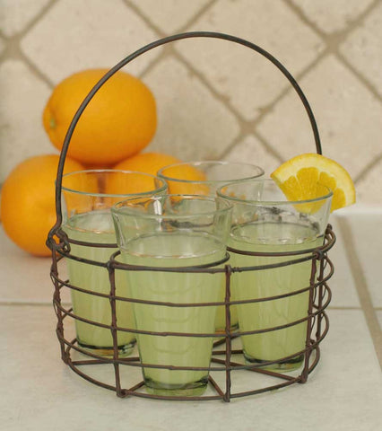 Round Wire Caddy with Four Glasses - Green/Rust Finish - *FREE SHIPPING*