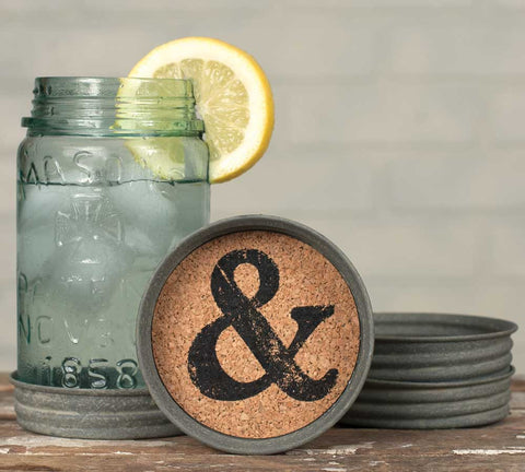 Mason Jar Lid Coaster - Ampersand - Set Of 4 - *FREE SHIPPING*