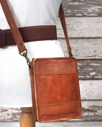Genuine Leather Sawtooth Crossbody Zip-Top Bag - *FREE SHIPPING*