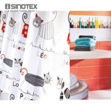 Shower Curtain Polyester Cloth Waterproof Moldproof Cartoon Tape Gutters Bathroom Curtain Cat With 12 Hooks - *FREE SHIPPING*