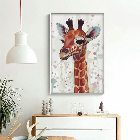 Simple Animal Head Watercolor Deer Giraffe Elk A4 Canvas Painting Art Print Poster Picture Wall Decoration Modern Home Decor