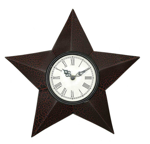 Star Clock - Crackle Black/Red Finish - *FREE SHIPPING*