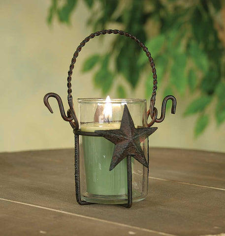 Star Votive Holder with Glass - Rustic Brown Finish - SET OF 3 - *FREE SHIPPING*