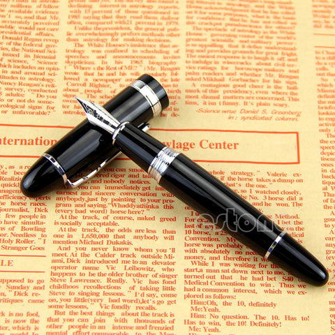 Black And Silver Fountain Pen - Thick - *FREE SHIPPING*