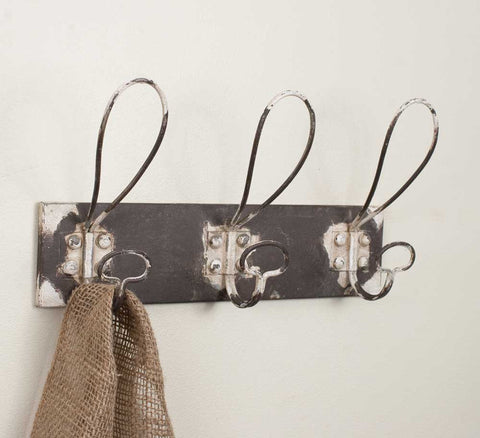 Vintage Inspired Three Hook Metal Coat Rack - Set Of Two - *FREE SHIPPING*