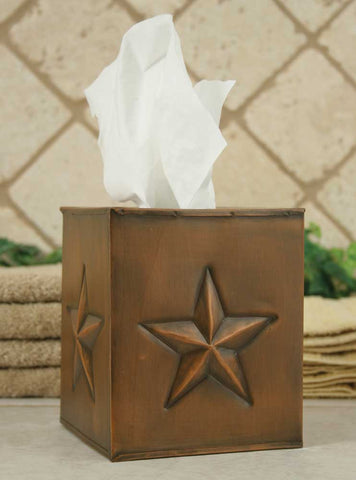 Tissue Paper Box Cover - Star - Aged Copper - Set of 2 - *FREE SHIPPING*