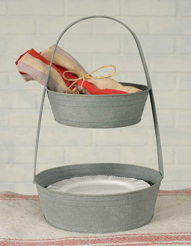 Two Tier Metal Tote - Round - *FREE SHIPPING*