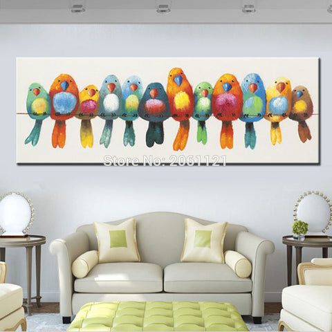 Funny Hand Painted Canvas Oil Painting Colorful Birds Canvas Art Cute Lovely Bird Picture - *FREE SHIPPING*