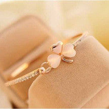 Clover Opal Charm Bracelet - Pink Clover/Gold Plated Band - *FREE SHIPPING*