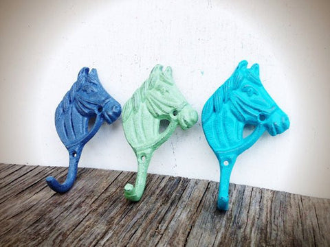 3 LITTLE HORSE WALL HOOKS - BLUE GREY MINT GREEN & SEASIDE AQUA BLUE CAST IRON - NURSERY FRENCH COUNTRY - *FREE SHIPPING*