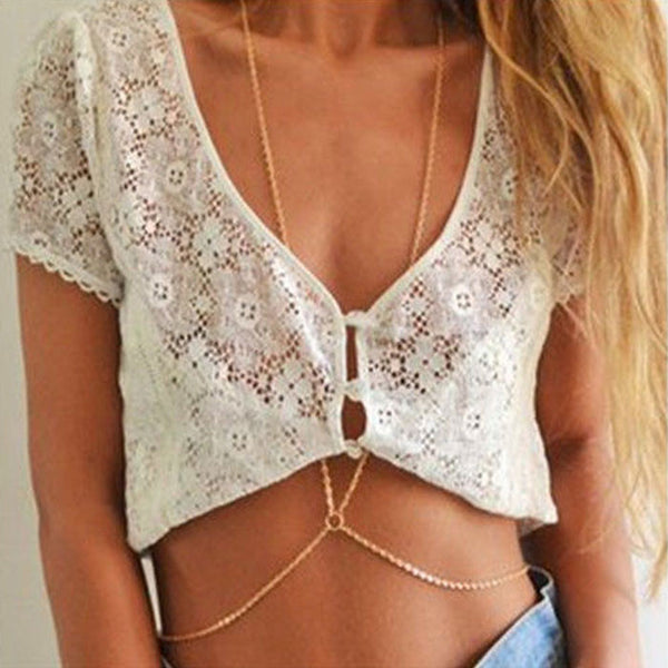Gold Bikini Neck & Waist  Body Chain - LikeEJ - 1