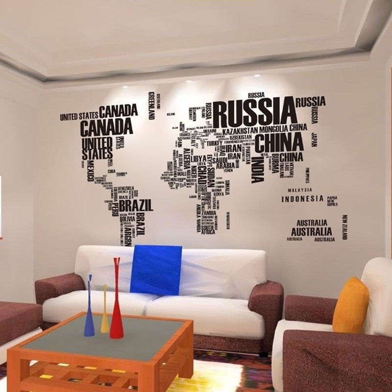 World Map Letter Quote Removable Vinyl Decal Art Home Decor Wall Stickers
