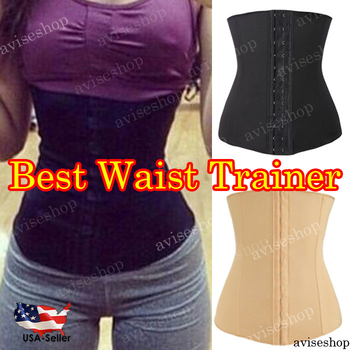 FREE SHIPPING - Tummy Trimmer Stomach Slimmer Belt Waist Trainer Cincher Black Corset Shaper
