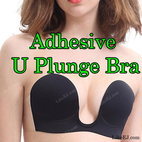 Backless Plunge Bra Strapless U Shape Adhesive Silicone Invisible Push up V Bra