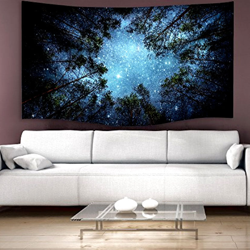 Night Sky Star Forest Hanging Tapestry Nature Tree Galaxy Wall Art Decor Vintage & Night Sky Star Forest Hanging Tapestry Nature Tree Galaxy Wall Art Dec