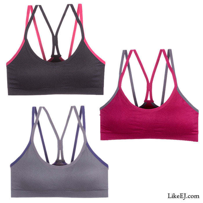 Stylish dual shoulder strap for better control Removable pads Bra Yoga Top #82051 - LikeEJ - 1