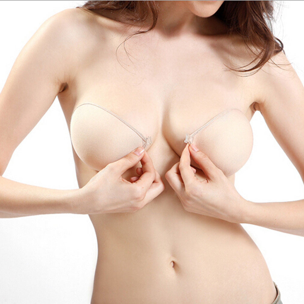Sticky Strapless Backless Silicone Fabric Self Adhesive Invisible Bra - LikeEJ - 1