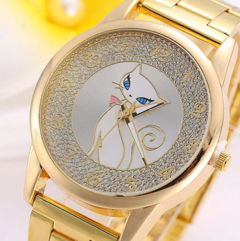 Designer Inspired Stainless Steel Fashion Rhinestone Ladies Quartz Wrist Watch