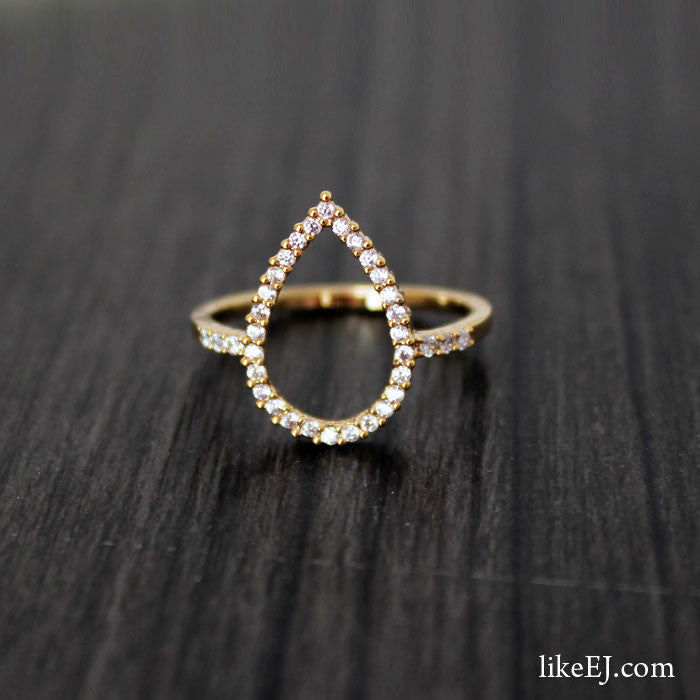 Tear Drop Gold Ring - LikeEJ - 1