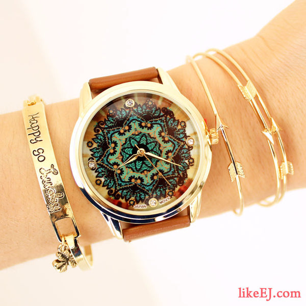 Brown Lace Print Watch - LikeEJ - 1