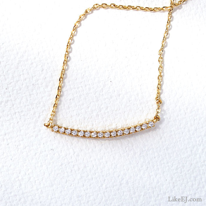 Crystal Wave Bar Necklace - LikeEJ - 1