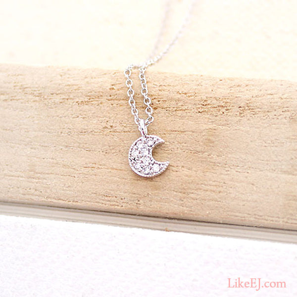 Tiny Crescent Moon Necklace - LikeEJ - 1