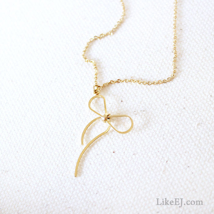 Lovely Slim Bow Necklace - LikeEJ - 1